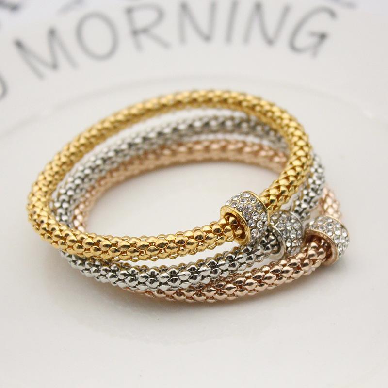 Три PCS сплав браслет мода мода эластичная сила попкорн кристалл позолоченные металлические ювелирные изделия женщины мужчины цепные браслеты свадьбы 4 3ZL K2B