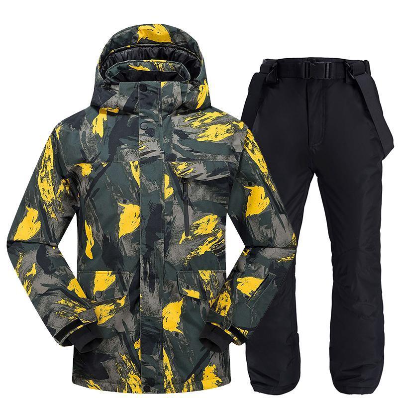 Jaquetas de esqui roupa de esqui homens inverno 2021 à prova de vento à prova de vento impermeável térmica macho calças de neve conjuntos e jaqueta de snowboarding