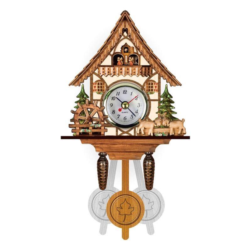 Madera antigua de la pared del reloj de cuco animales Tiempo de Bell oscilación de alarma del reloj principal del restaurante del dormitorio Decoración