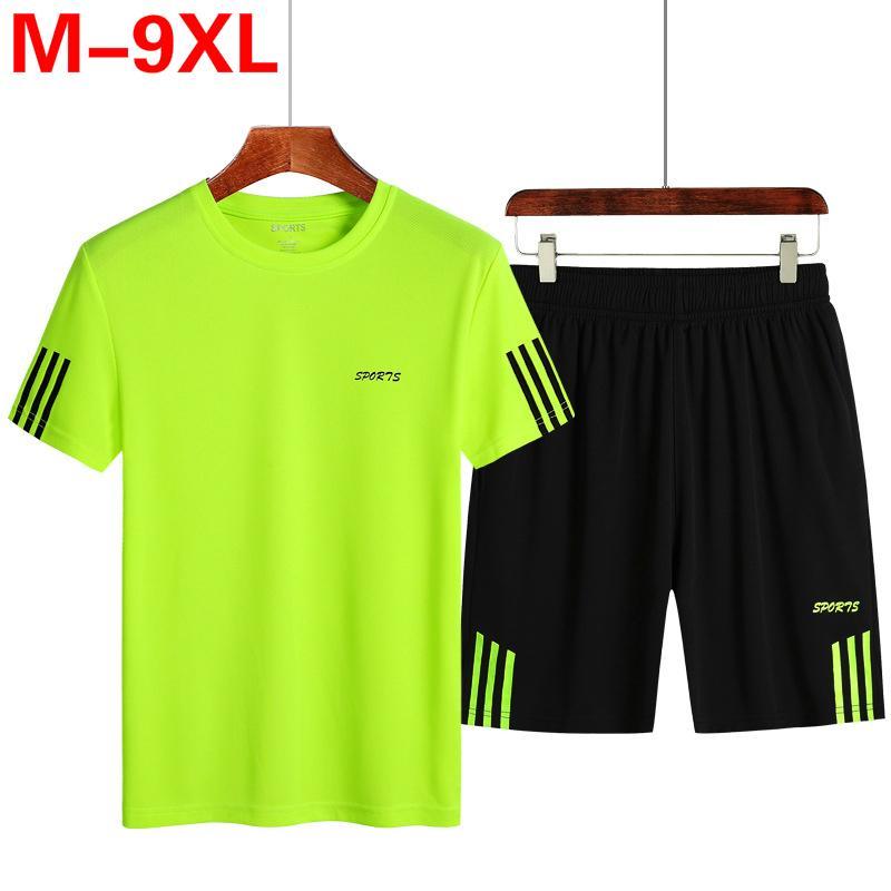Плюс размер 7XL 8XL 9XL Mens Два Бюстье Топ Шорты Sweatsuit Мужчины Tracksuit Обучение Sportwear Человек Tee Shirt Летняя одежда Q1110