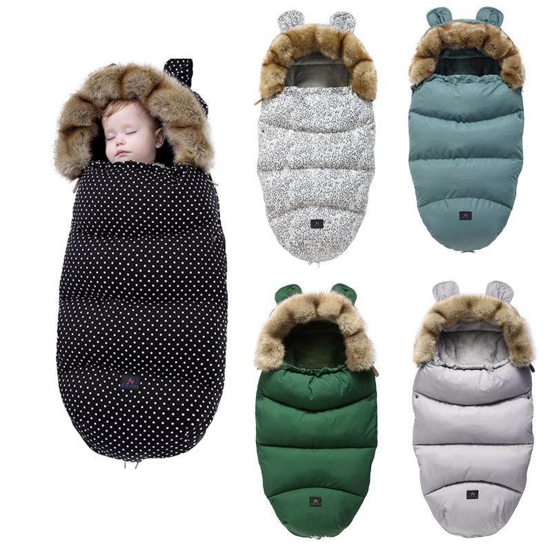 Infant Stroller Sleep Bags Windproof Fleece Winter Thicken Pad Sleepsack Hooded Warm Soft Suitable for Most Strollers W1218