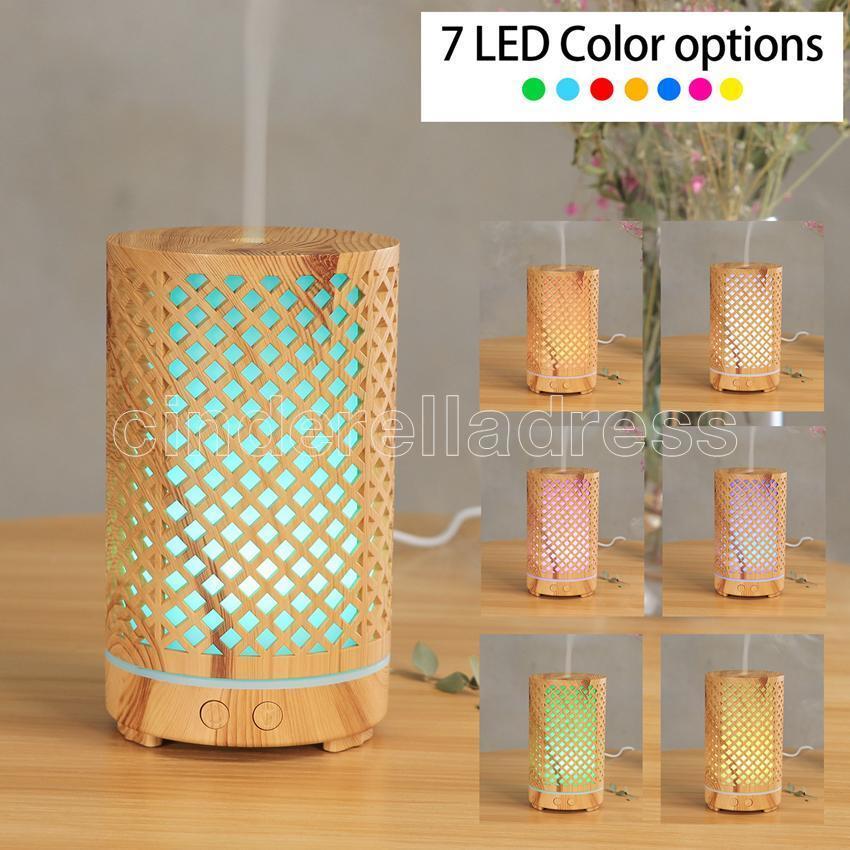 200ml Ultraschall-Luftbefeuchter Aushöhlung Aromatherapie-Maschine USB-Holzkorn-Aroma-ätherisches Öldiffusor mit 7 Farben LED-Licht 2021