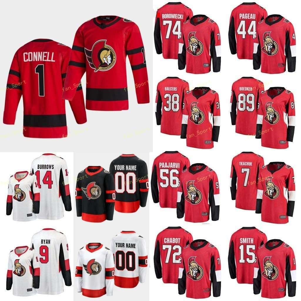 Ottawa Senators 2021 Reverse Retro Jersey Anisimov Artem Valcercers Rudolfs Marrom Connor Chabo Thomas Homens Mulheres Juvenil Costume Costume