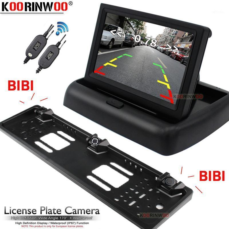 Koorinwoo Wireless Parkmaster UE Number Cadre de plaque d'immatriculation de la plaque arrière Vue arrière Caméra Capteurs de stationnement de voiture 2 avec moniteur de voiture LCD sans forage1