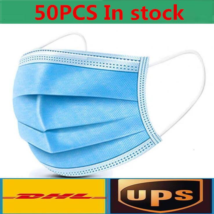 Disposable Face Mask 3 Layer Ear-loop Dust Mouth Masks Cover 3-Ply Non-woven Soft Breathable outdoor part hot saleCOC6