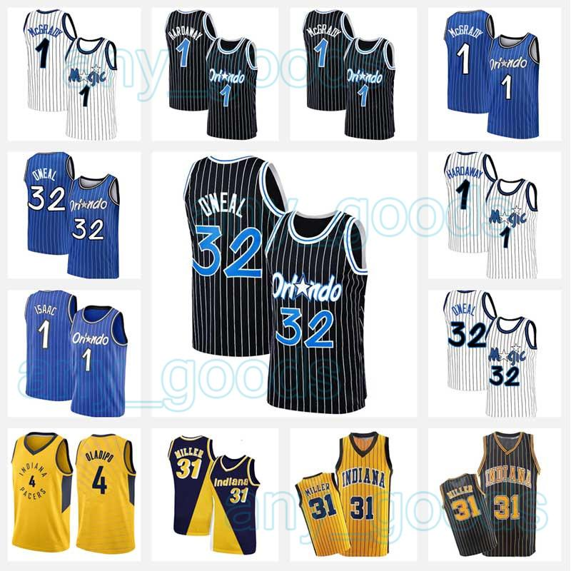 Shaquille 32 O'Neal Basketball Jersey Oneal Miller 31 Reggie Penny Victor 4 Oladipo Hardoway Indiana Orlando Tracy 1 McGrady Pacers Magic