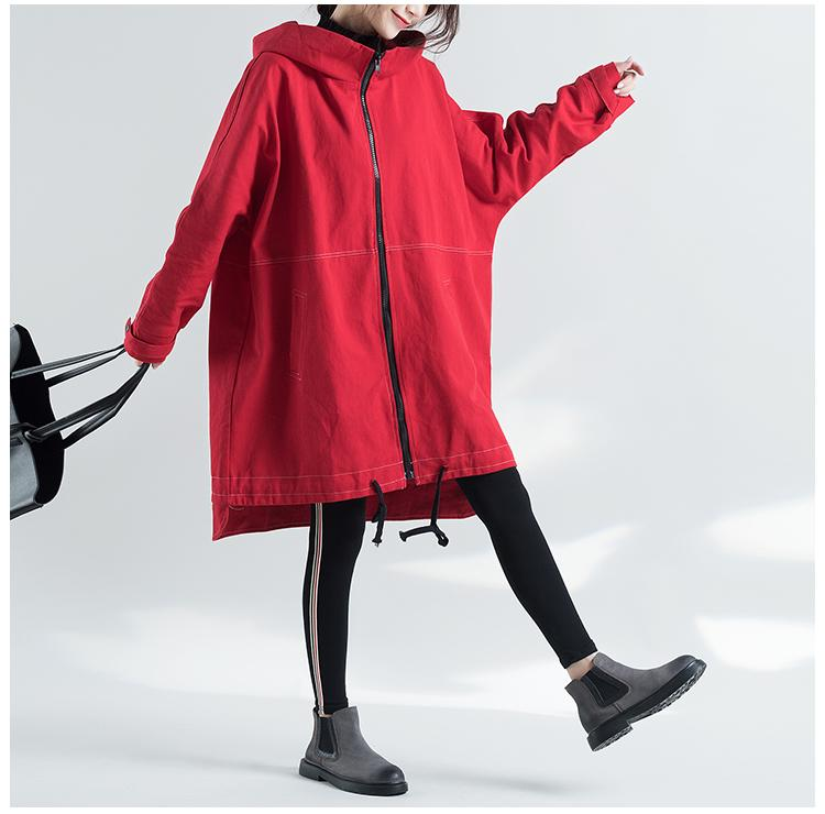 WY High Quitly Trench Coat For Women Plus Size Women's Long Windbreaker Spring Autumn Female Loose Red Color Hooded Coat women 201015