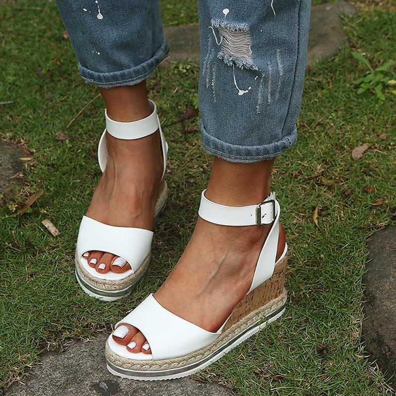 Sandálias plataforma de verão 2021 moda mulheres sandal cunhas sapatos casuais mulher peep toe preto fora