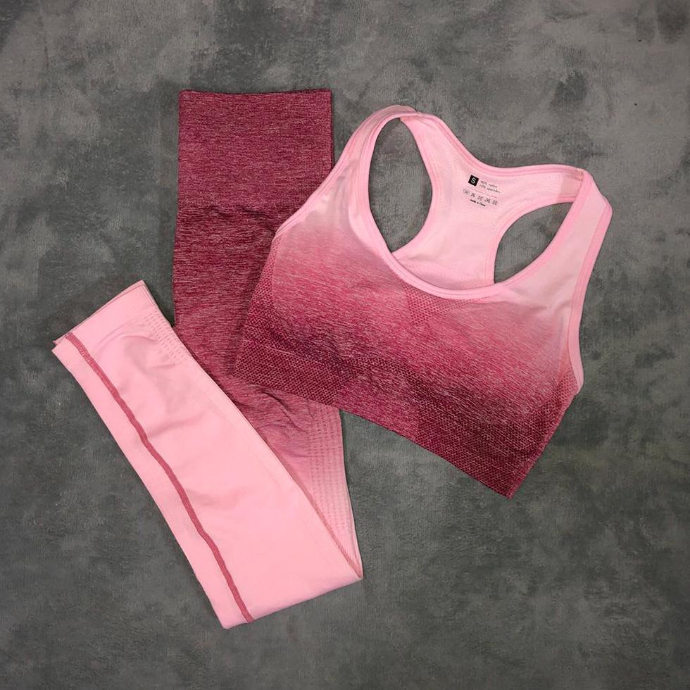 di Bra senza giunte delle donne Yoga Sport Set Leggings + sport Palestra Abbigliamento allenamento Suit Ombre Donne Energy fitness sportivo Active Wear