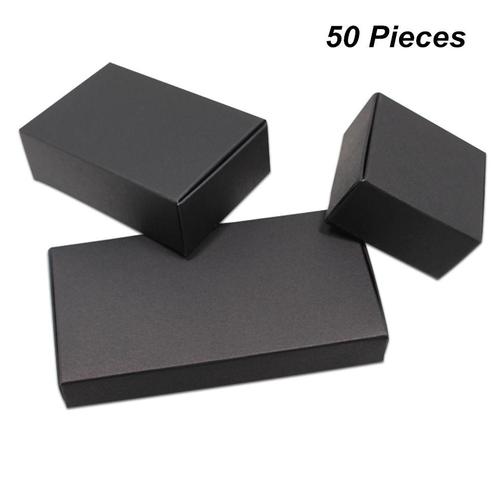 18 Boyutları 50 adet Lot Siyah Kraft Kağıt El yapımı Sabun Parti Kutuları Şeker Çerezler Çikolata için Takı Aksesuar Hediyeler için Kutuları Ambalaj