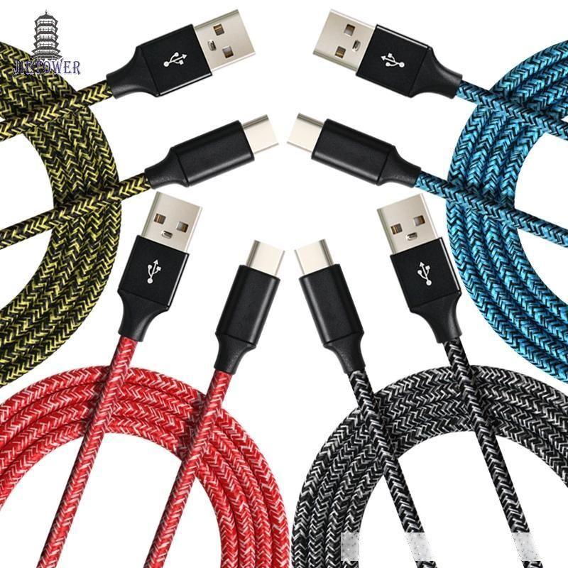 500pcs / lot stoffa colorata filo 1M 2m 3m tessuto di nylon intrecciato Micro 5pin / Type-C cavo dati per Huawei Xiaomi ht