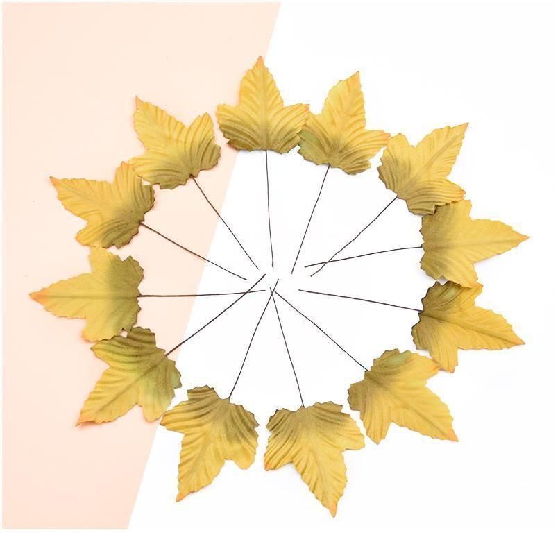 12pcs 저렴한 실크 메이플 리프 가짜 잎 홈 웨딩 DIY 선물 상자에 대 한 크리스마스 화환 장식 scrapbooking artificia qyljmr