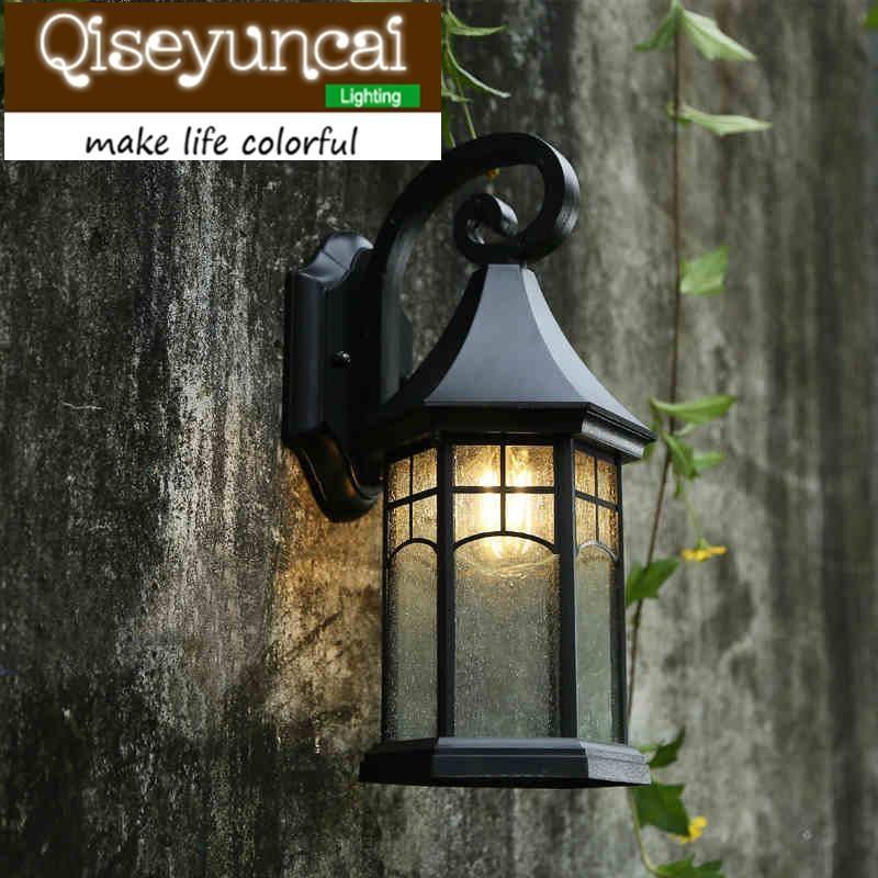QiseyuncAi Stile europeo Piccolo corno impermeabile all'aperto LED LED in alluminio lampada da parete retrò americano cortile lampada