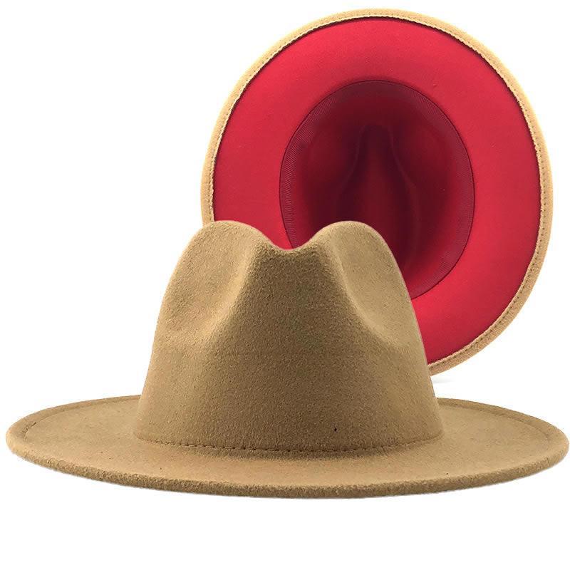Vente en gros Marron Rouge Patchwork en feutre de laine Jazz Fedora Chapeaux Femmes Hommes double face Colorimétrie Ladies Bowler Panama Hat