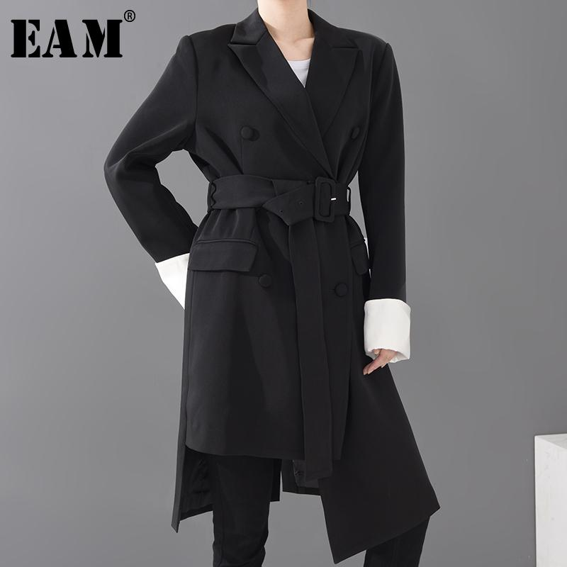 [EAM] Mulheres Preto Irregular Big Size longo Blazer New lapela manga comprida solta Fit Jacket Moda Primavera Outono 1S07001 201007