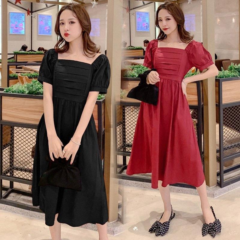 5383 # Still-Kleidung-Sommer-Fest Farbe Baumwolle Kurzarm lose stilvolle Kleid für schwangere Frauen Mom Kleid 3nuf #