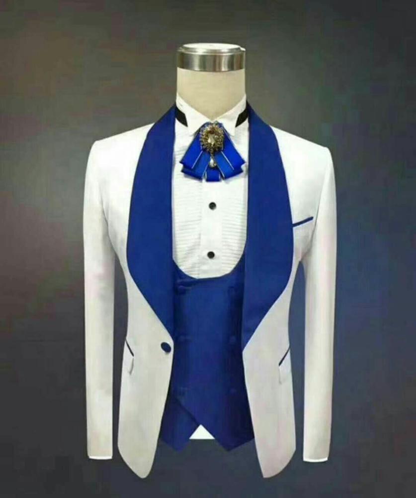 Nuovo bello scialle risvolto Groomsmen One Button smoking dello sposo abiti da uomo da sposa / Prom / Cena Best Man Blazer (Jacket + Pants + Tie + Vest) 774