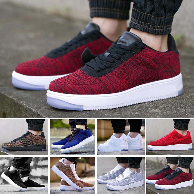 FORCE 1 FLYKNIT LOW 2021 Yeni Tasarımcı Kuvvetleri Erkekler Düşük Kaykay Ayakkabı Ucuz Bir Unisex 1 Örgü Euro Yüksek Kadınlar Tüm Beyaz Siyah Kırmızı Koşu Ayakkabıları 36-45 S25