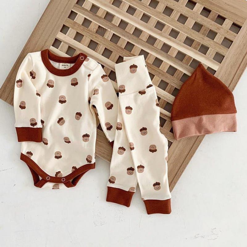 Garçons bébés et layette Sets Noisettes manches longues Imprimer + Leggings + Bodysuit Chapeau de bébé en coton Home Wear la OutfitsX1019