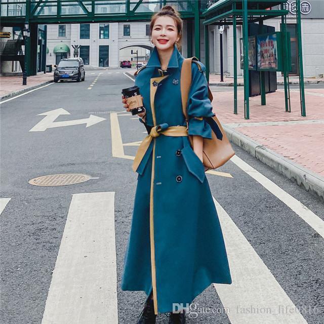 ss20 новых классические дамы горячей моды британская средней длина тренчкот / британский дизайнер двубортное самосовершенствования ремень открыть переднюю поясную т
