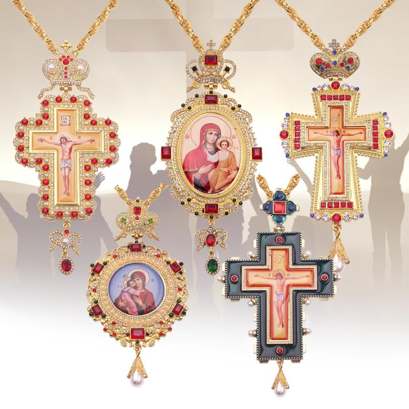Orthodox Pectoral Cross Collares Crown Religious Icon byzantine Catholic Crucifix Confirmation Pendant Long Necklace Q1113