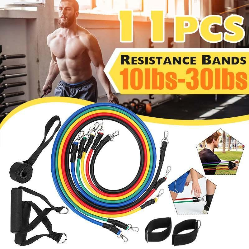 Resistance Bands 5 Levels With Handles Yoga Pull Rope Elastic Fitness Exercise Tube Band For Home Workouts Strength Training