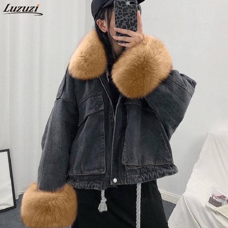 Luzuzi Women Winter Denim Jacket Oversize Large Fur Collar Plus Velvet Jacket Detachable Thick Loose Cotton Warm Jean Coat 201017
