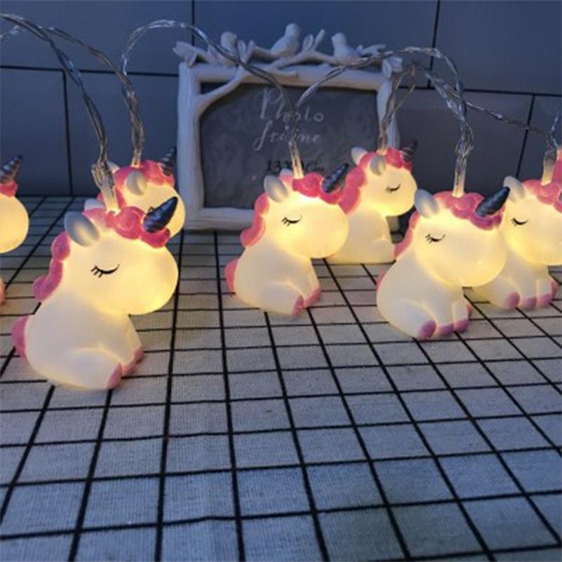 새로운 LED 만화 유니콘 램프 실리콘 동물 문자열 요정 빛 배터리 크리스마스 아기 어린이 방에 대 한 구동 새해 장식 201023