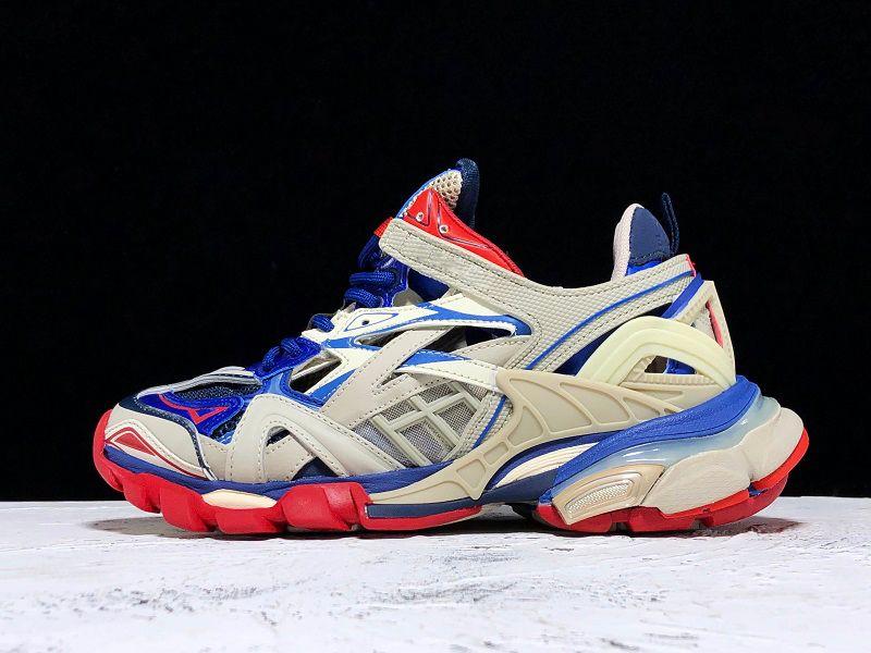 En Quality Paris Parça 2.0 Eğitmenler Üçlü S Mavi Bej kadın Erkek Ayakkabı Baba ayakkabı Platformu Spor Sneakers Trek Sneakers