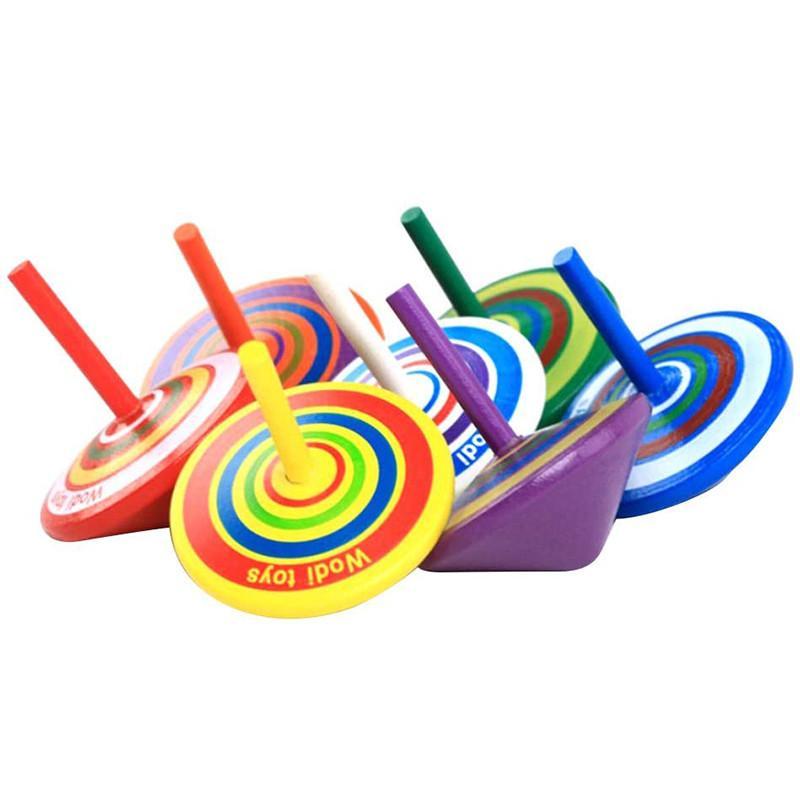 Giroscópio de madeira giroscópio brinquedos meninos e meninas clássico relevo colorido stress madeira girando top adulto antistress desktop crianças brinquedo presentes