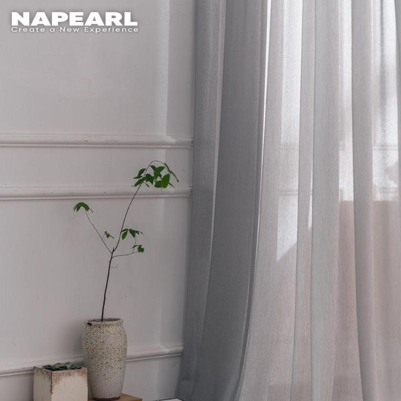 NAPEARL 1 Pieza Color sólido Fabricado Tul cortinas del dormitorio Sheer cenefas de cocina Organza tejidos de hilo cortinas Voile