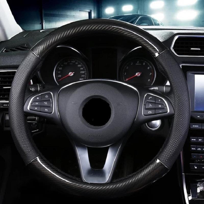 Couvercle de volant de voiture en fibre de carbone pour micro-fibre cuir automatiquement roue dia 38cm pour1