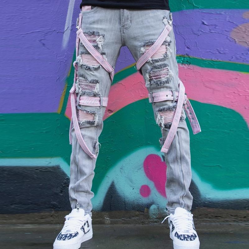 E6EG мужская синяя вышивка разорванные брюки джинсы тонкий мужской подходит тощий карандаш брюки повседневные джинсовые упругие брюки