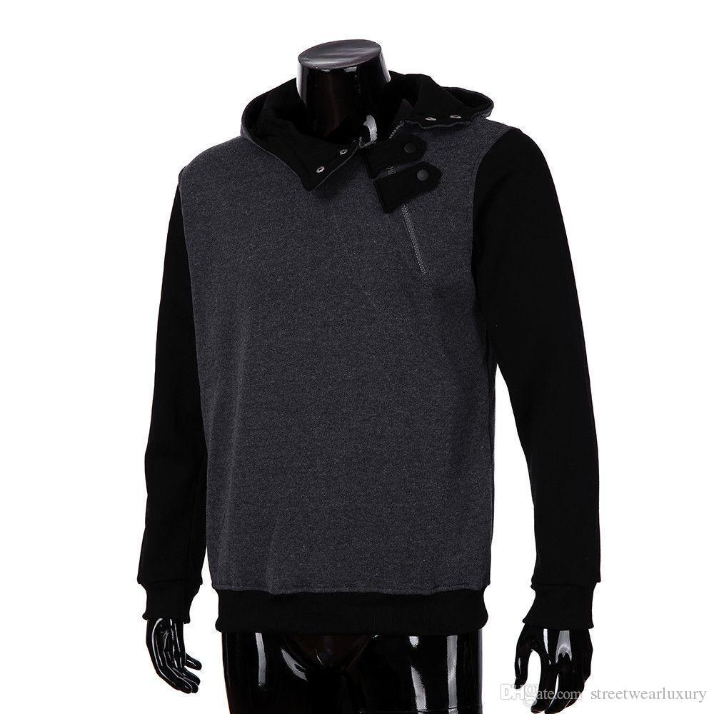 Fremder Sachen Mens Hoodies Mode Designer Button Reißverschluss Verzierter Patchwork Fleece Mit Kapuze Oansatz Casual Sweatshirts Tops