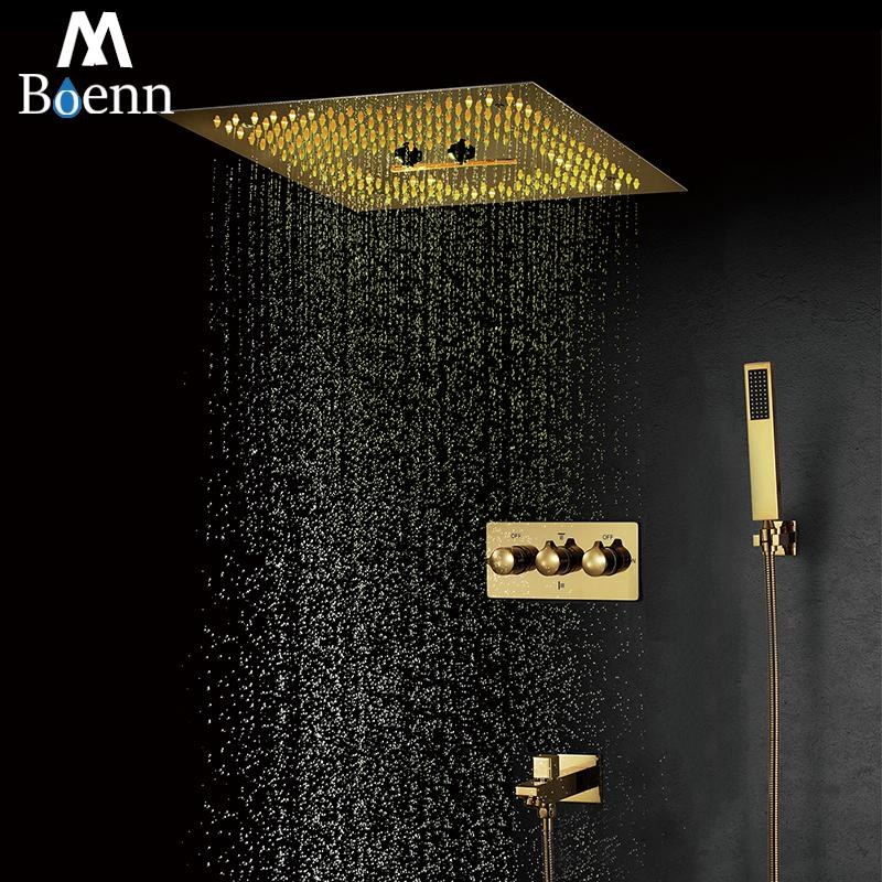Ti-PVD Gold Shower Systems 16 Inch Rain Shower Head Panel Bathroom Faucets LED Shower Set Bath Mixer Hot and Cold Valve Brass