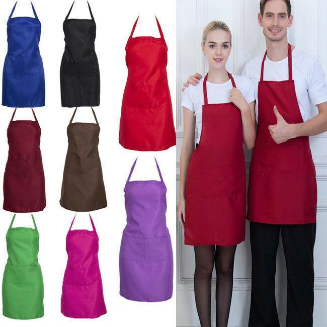 Регулируемая Bib Фартук платье Мужчины Женщины ресторан Chef Классический Готовим с Карманы Butcher Craft Выпечка Кухня Приготовление барбекю
