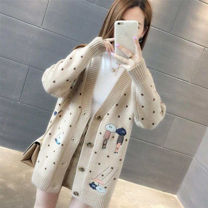 Frauen Pullover Herbst-Winter-Oberbekleidung-Strickjacke V-Ansatz beiläufiges Knit Cardigans Cartoon Stickerei Langarm koreanische lose Strickjacke Y2001 36LA #
