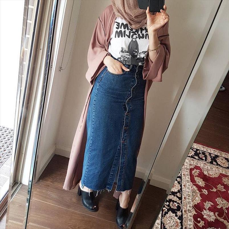 Faldas Mujer Moda 2020 Taille Plus Abaya Dubai femmes musulmanes long Jupe en denim turque islamique Jeans Casual Bodycon Maxi Jupes