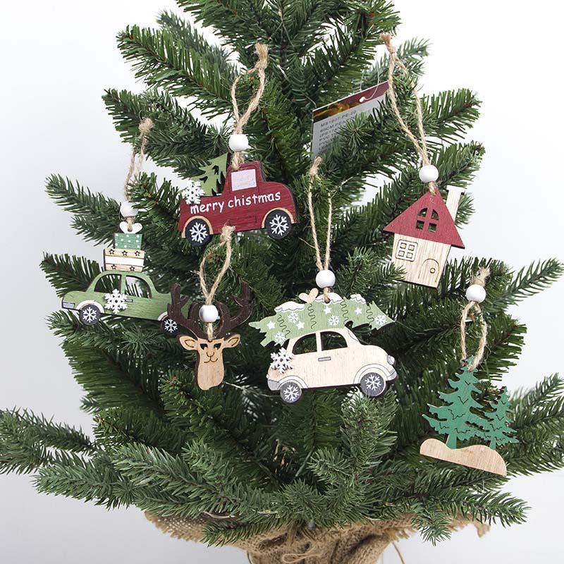 3шт / пакет Рождество Грузовик с дерева украшения Деревянные рождественские украшения для Xmas Tree Ornament Party Kids дар