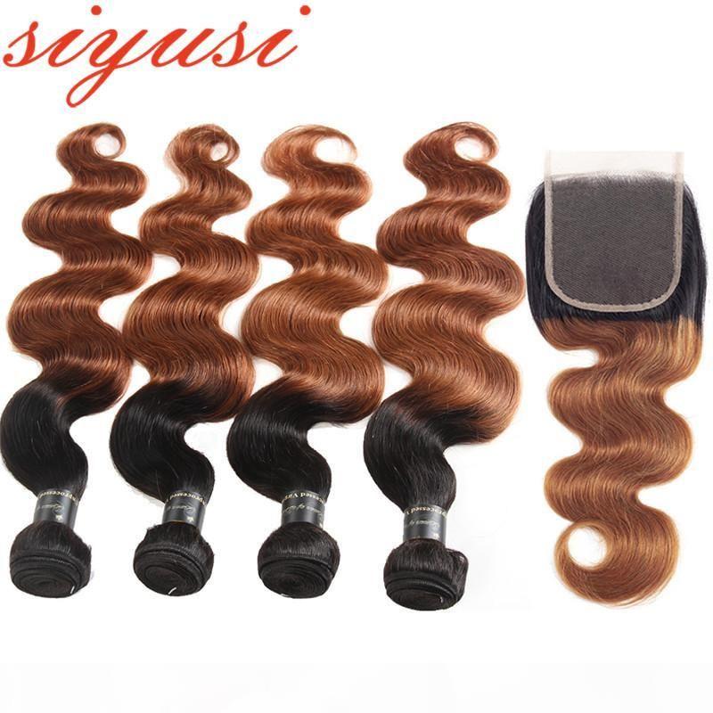 9A необработанные омбре перуанские человеческие волосы плетение 3 пакета с замыканием тела волны 1b 30 4x4 свободная часть кружева