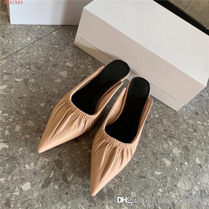 2020 Низкий каблук заостренный носок одного ботинка женщины-2020 весной и летом ленивый мешок голову половина сопротивления тапочки с коробкой 34-40
