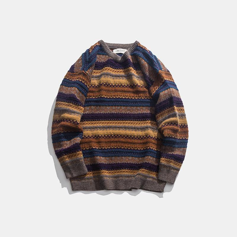 2020 di moda coreana a strisce Mens Maglioni casuale del maglione di inverno degli uomini di Hip Hop top Jacket Maglione lavorato a maglia Maglione Uomini Mens Big Taglie