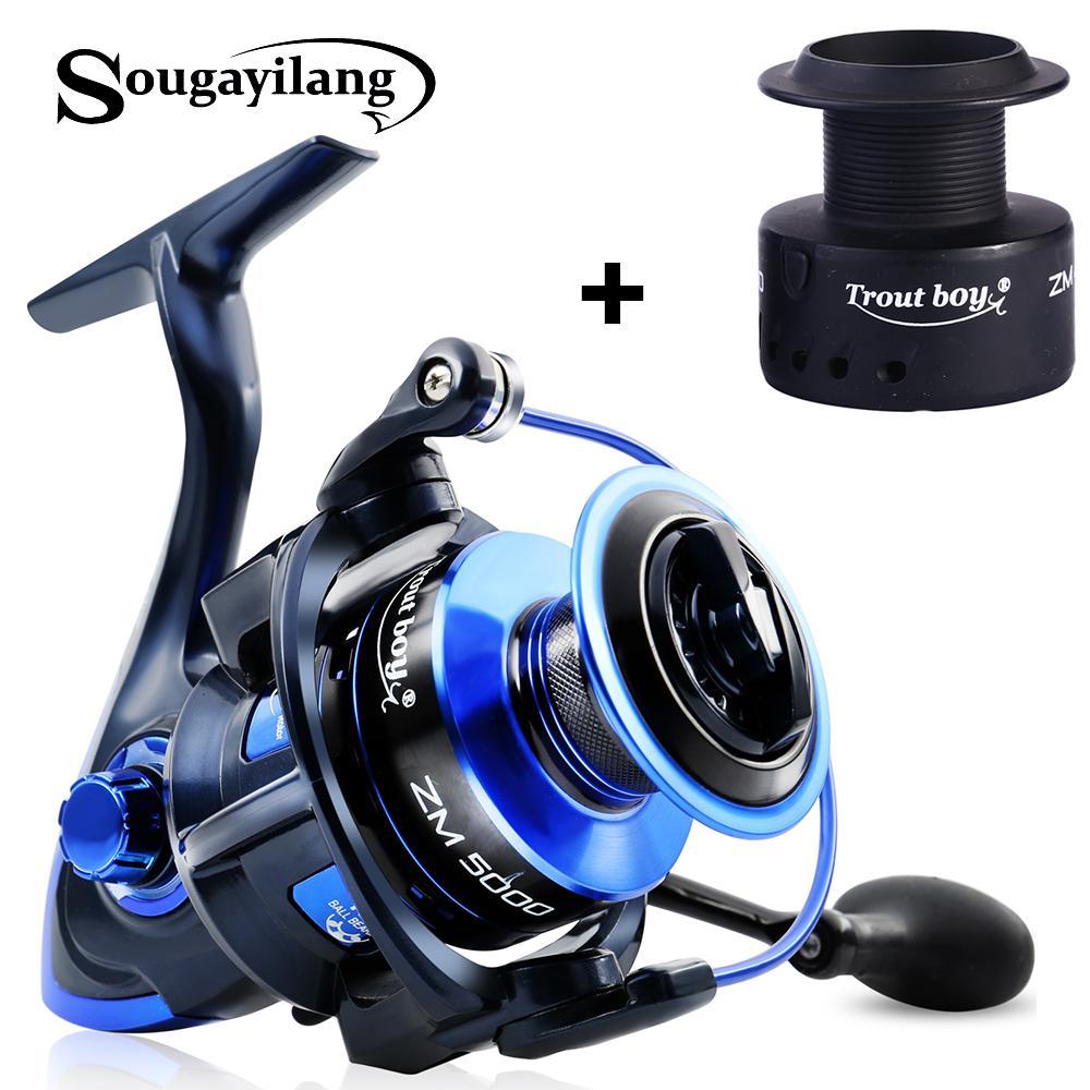 Sougayilang Spinning Pêche Bobine de pêche 13bb + 1High Quality Ball Roulements 5.5: 1 Boublesse de pêche 2000-5000 8kg Max Drag Spinning Bobine 201126