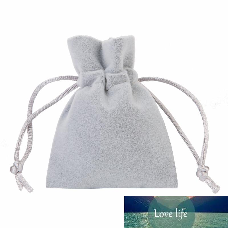 Sac doux velours épais gris 7x9cm 9x12cm cordonnet Pouches pour bijoux emballage de cadeau de Noël fête d'anniversaire de mariage faveur Holde