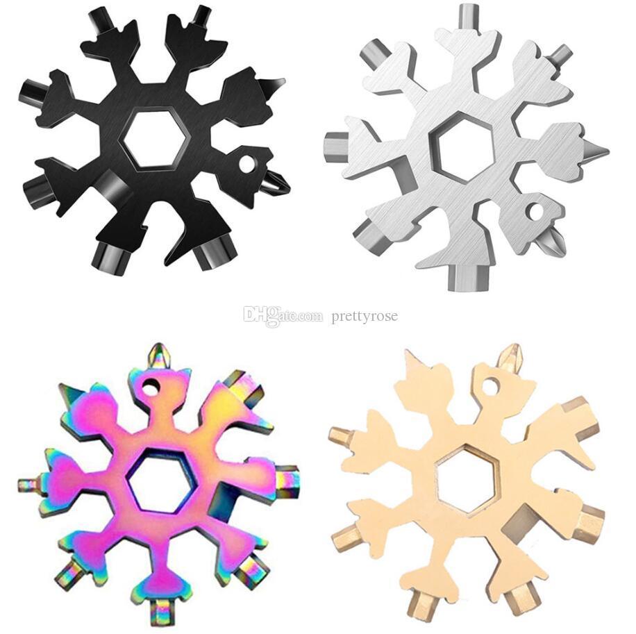 18 in 1 Schneeflocke Multi Pocket Tool Schlüsselanhänger Key Ring achteckige Schraubenschlüssel Multifunktions Mehrzweckwerkzeugkarten Camp Camp überleben