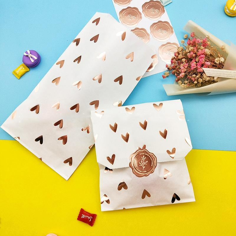 25pcs doratura in oro rosa amore Paper Bag Candy Dessert Pasticceria Packaging Supplies Gift Bag Export Wedding Birthday Party Decor