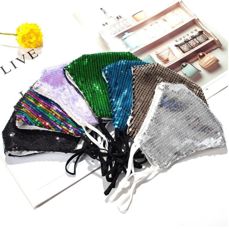 Máscaras de cara Diseñador Máscara al aire libre Mascarillas Moda Reutilizable Mascarillas Adultas Cara Lentejuelas Impresión Impresionante Protector a prueba de polvo OWB1402 FVVKR