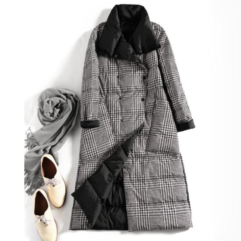 SEDUTMO hiver Taille Plus 5XL Femmes vestes en duvet ultra fine couche mince à double face Plaid Spring Slim Jacket LJ201007 Puffer