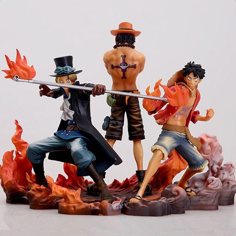 3PCS anime One Piece heykelcik Monkey D. Luffy Ace Sabo Üç kardeşler PVC Action Figure Koleksiyon Model Oyuncaklar 1008 14-17CM bebek set