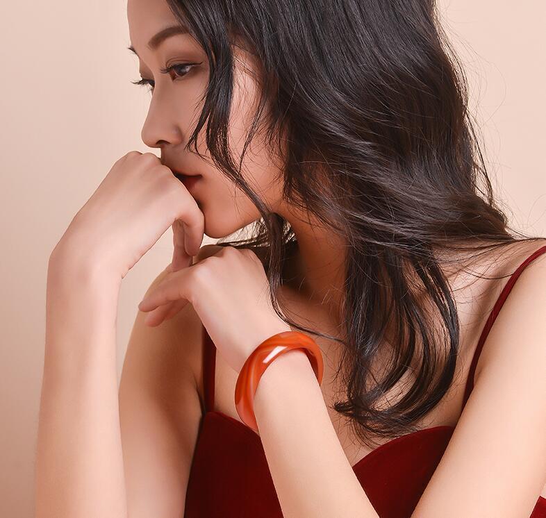 Natürlich A Brasilien Achat Armband weibliche chalcedonite Armband in diesem Jahr geboren erweitert und verdickte Wangfu Jadearmband